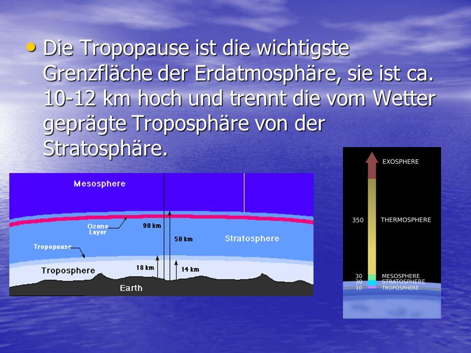 Die Tropopause ist die wichtigste Grenzfläche der Erdatmosphäre, sie ist ca.