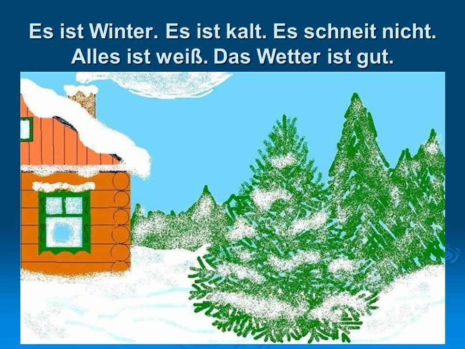 Es ist Winter. Es ist kalt. Es schneit nicht. Alles ist weiß