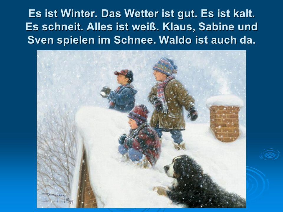 Es ist Winter. Das Wetter ist gut. Es ist kalt. Es schneit