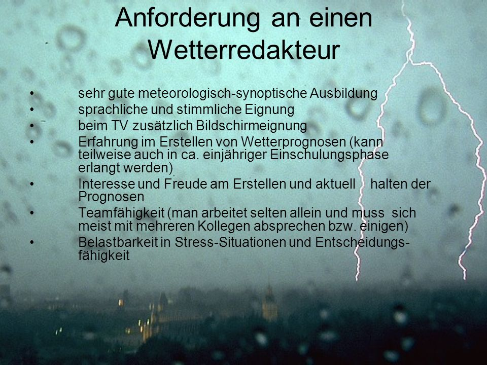 Anforderung an einen Wetterredakteur