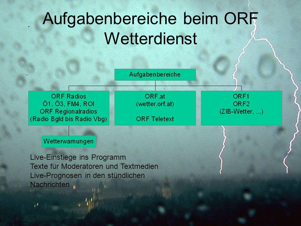 Aufgabenbereiche beim ORF Wetterdienst
