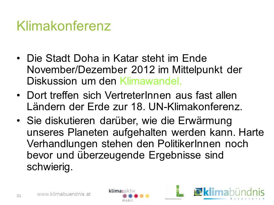 Klimakonferenz Die Stadt Doha in Katar steht im Ende November/Dezember 2012 im Mittelpunkt der Diskussion um den Klimawandel.