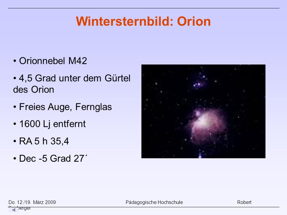 Wintersternbild: Orion