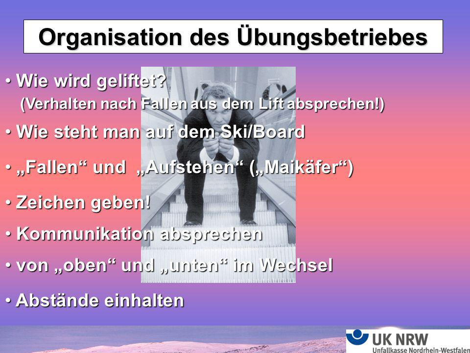 Organisation des Übungsbetriebes