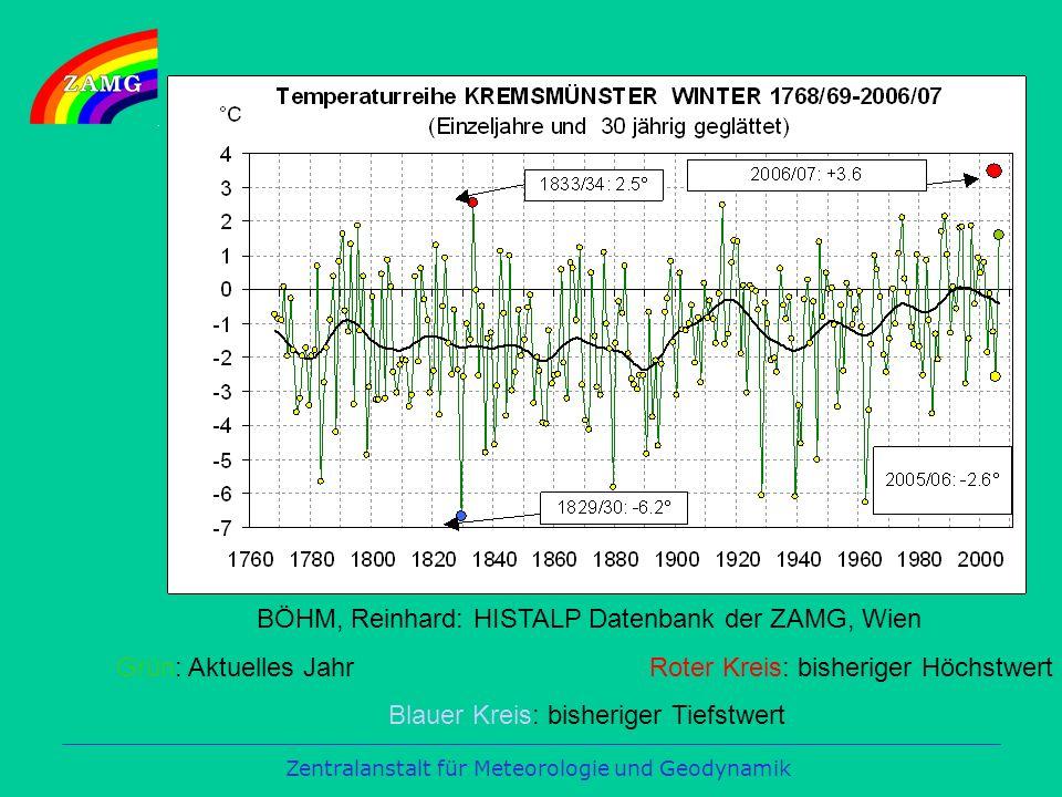 BÖHM, Reinhard: HISTALP Datenbank der ZAMG, Wien