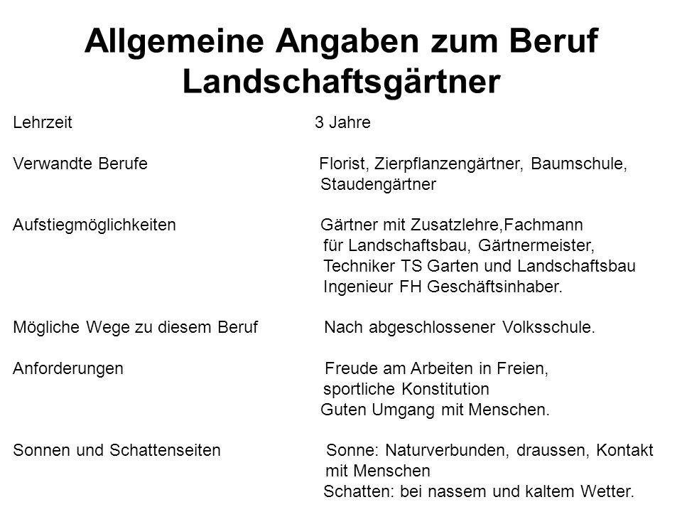 Allgemeine Angaben zum Beruf Landschaftsgärtner