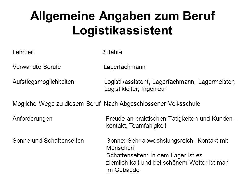 Allgemeine Angaben zum Beruf Logistikassistent