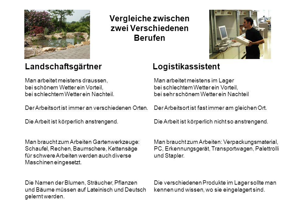 Vergleiche zwischen zwei Verschiedenen Berufen