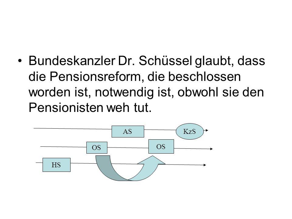 Bundeskanzler Dr. Schüssel glaubt, dass die Pensionsreform, die beschlossen worden ist, notwendig ist, obwohl sie den Pensionisten weh tut.
