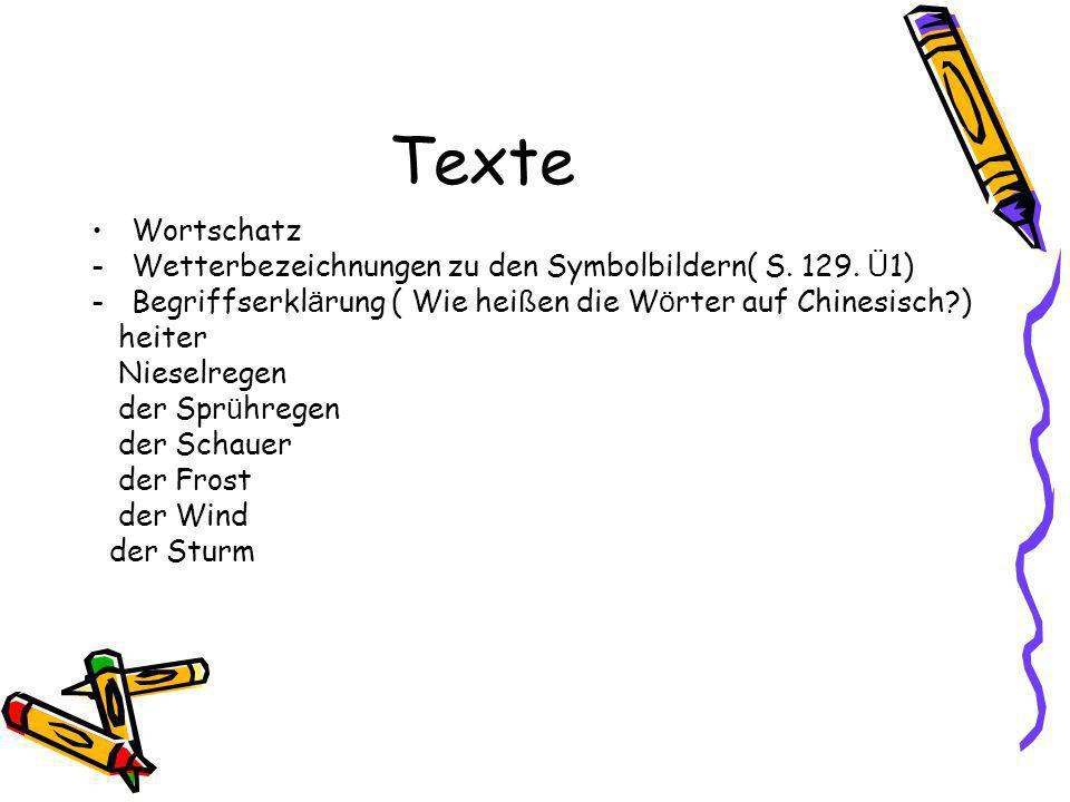 Texte Wortschatz Wetterbezeichnungen zu den Symbolbildern( S. 129. Ü1)