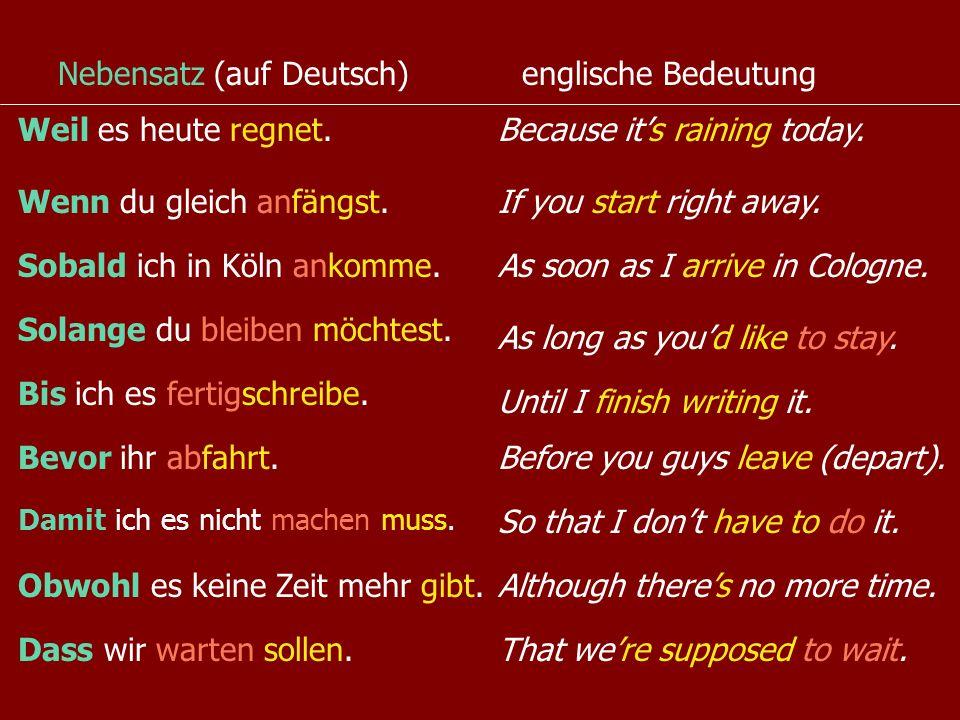 Nebensatz (auf Deutsch) englische Bedeutung