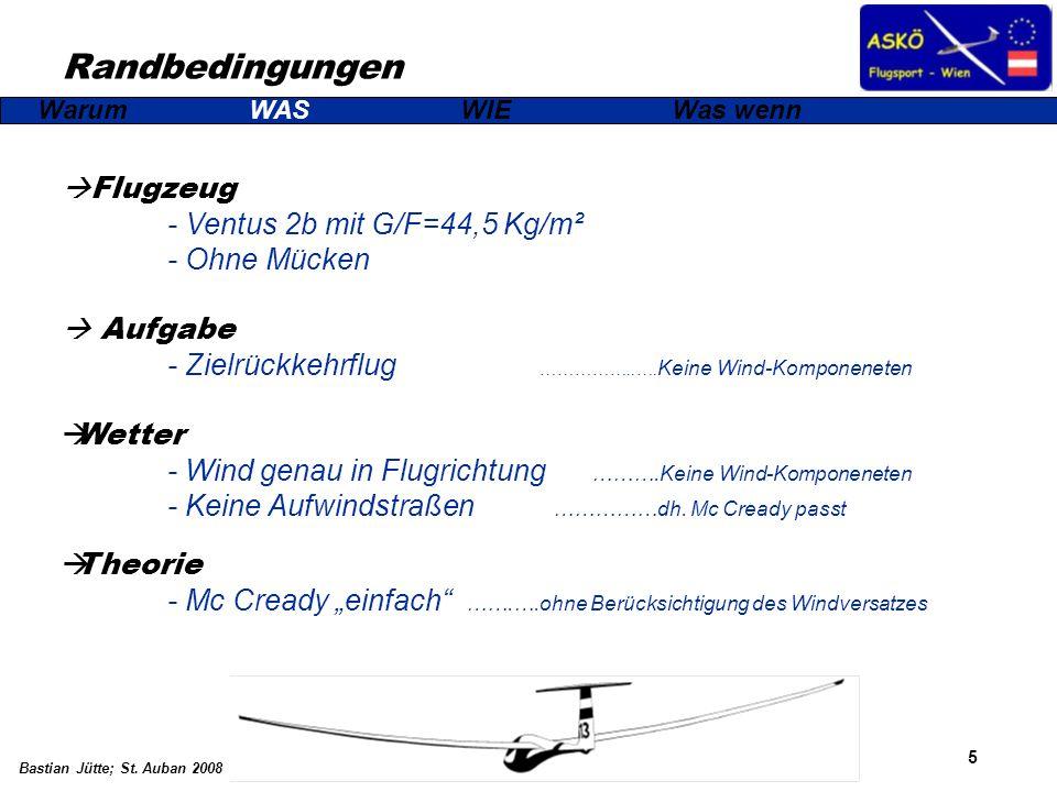 Randbedingungen Flugzeug - Ventus 2b mit G/F=44,5 Kg/m² - Ohne Mücken