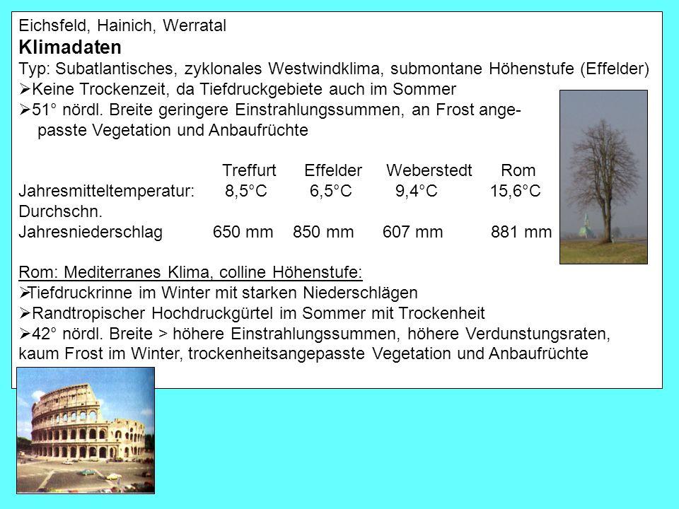Klimadaten Eichsfeld, Hainich, Werratal