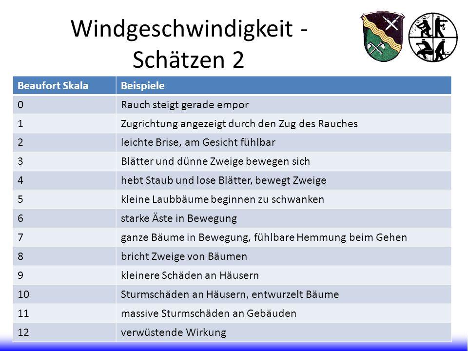 Windgeschwindigkeit - Schätzen 2