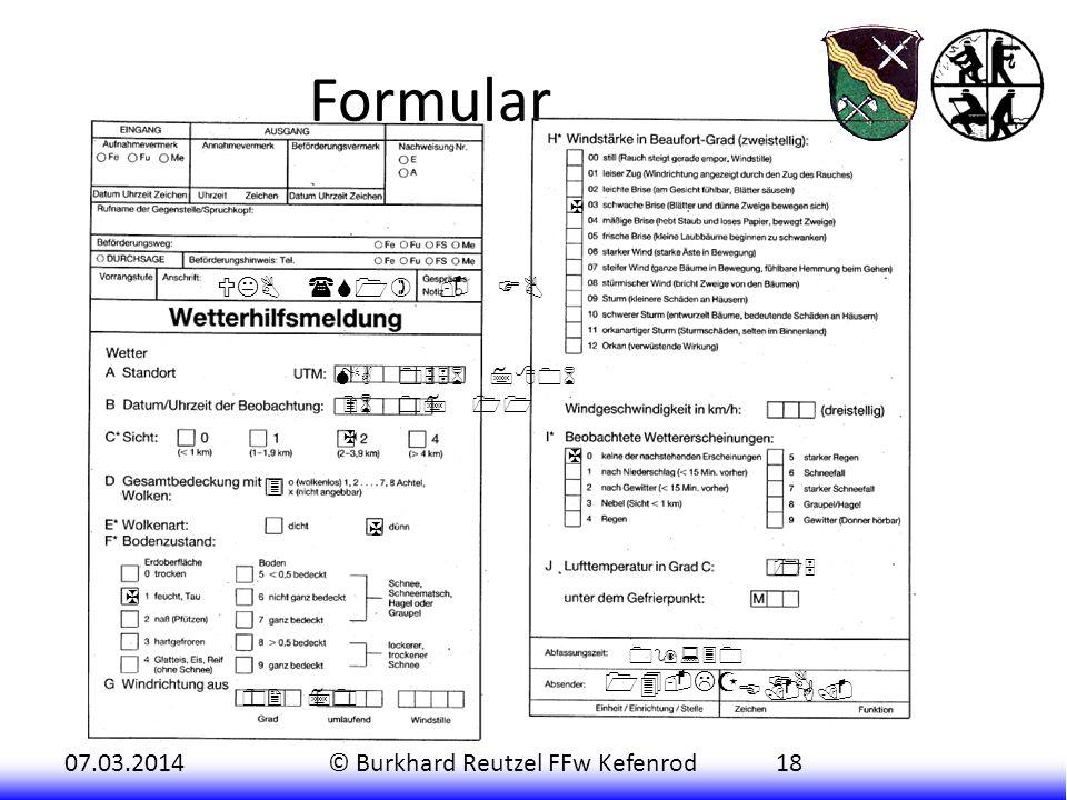 Formular UKB (S1) - FB 14-LZ FB E.G. ZF X MA 0556 7806 26 07 11 X X 3