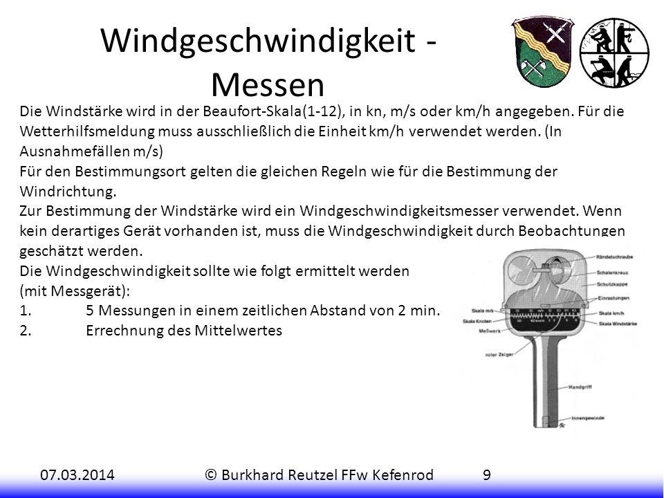 Windgeschwindigkeit - Messen