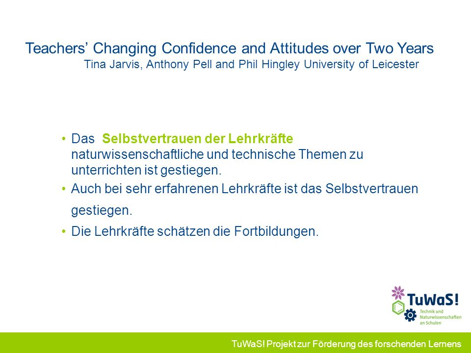 Teachers' Changing Confidence and Attitudes over Two Years Tina Jarvis, Anthony Pell and Phil Hingley University of Leicester