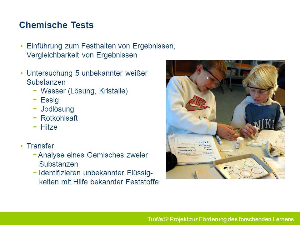 Chemische Tests Einführung zum Festhalten von Ergebnissen, Vergleichbarkeit von Ergebnissen. Untersuchung 5 unbekannter weißer Substanzen.