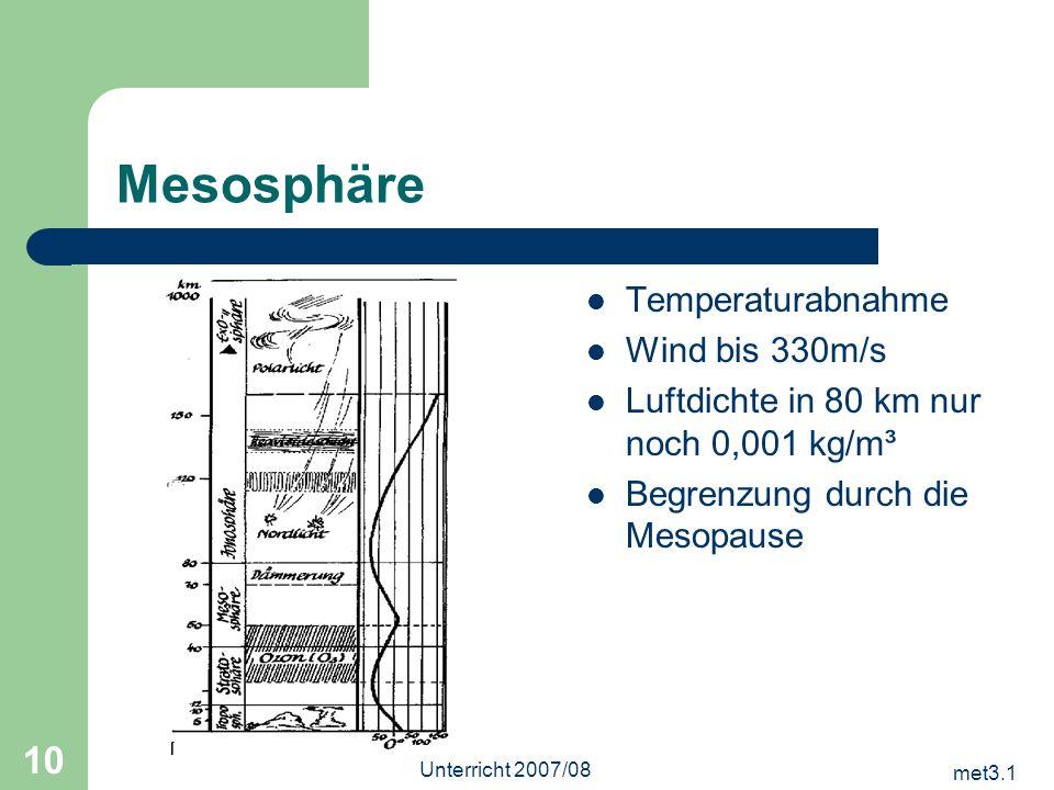 Mesosphäre Temperaturabnahme Wind bis 330m/s