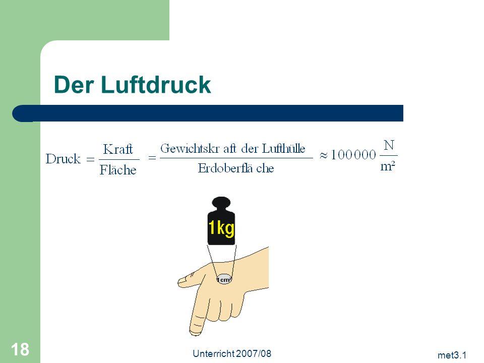 Der Luftdruck Unterricht 2007/08 met3.1
