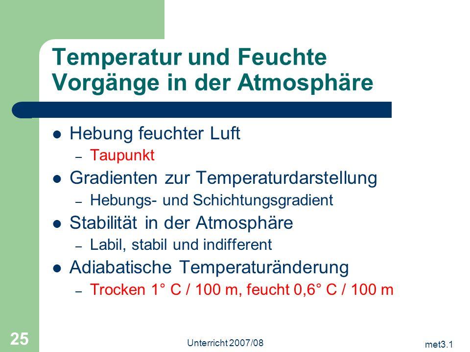 Temperatur und Feuchte Vorgänge in der Atmosphäre