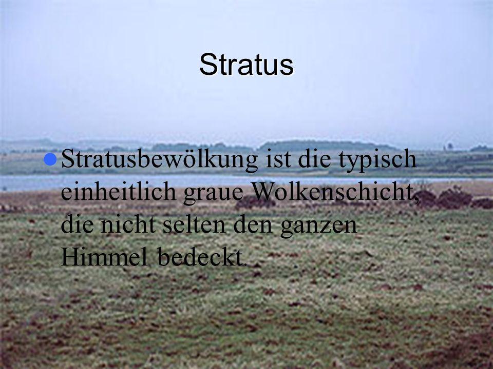 Stratus Stratusbewölkung ist die typisch einheitlich graue Wolkenschicht, die nicht selten den ganzen Himmel bedeckt.