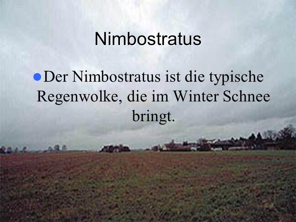 Nimbostratus Der Nimbostratus ist die typische Regenwolke, die im Winter Schnee bringt.