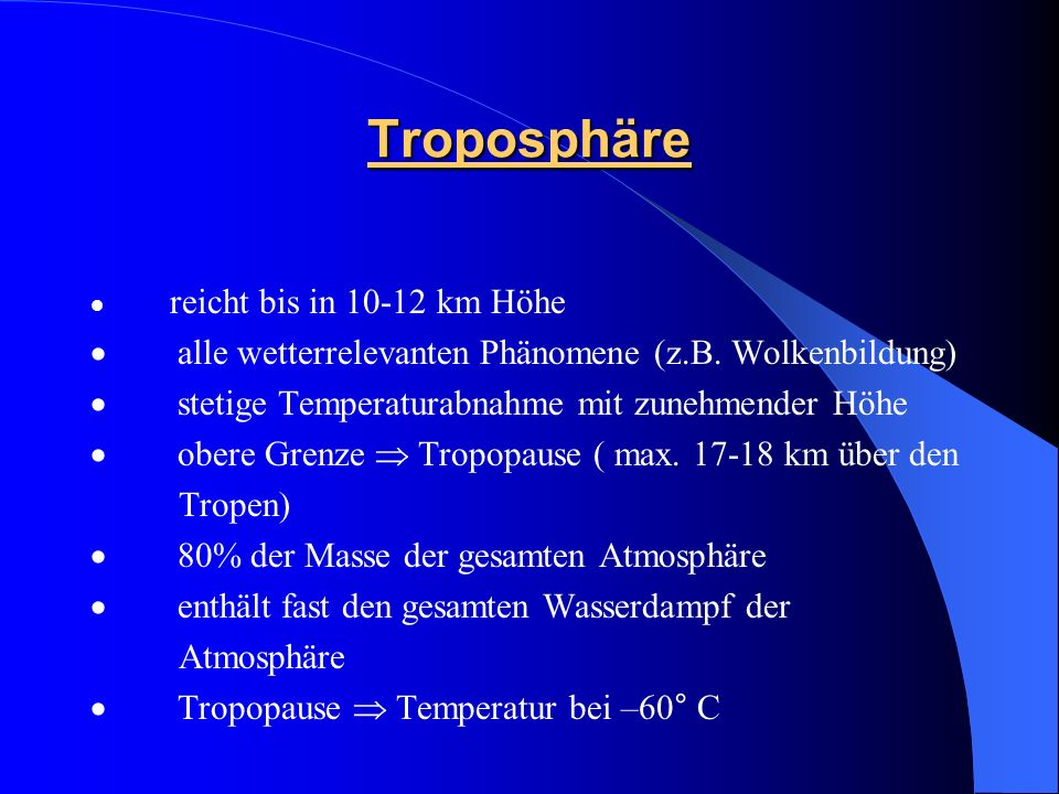 Troposphäre · alle wetterrelevanten Phänomene (z.B. Wolkenbildung)