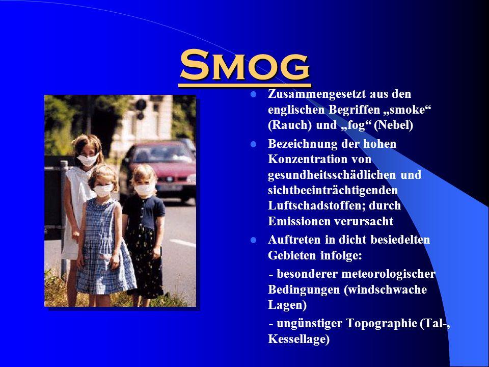 """Smog Zusammengesetzt aus den englischen Begriffen """"smoke (Rauch) und """"fog (Nebel)"""