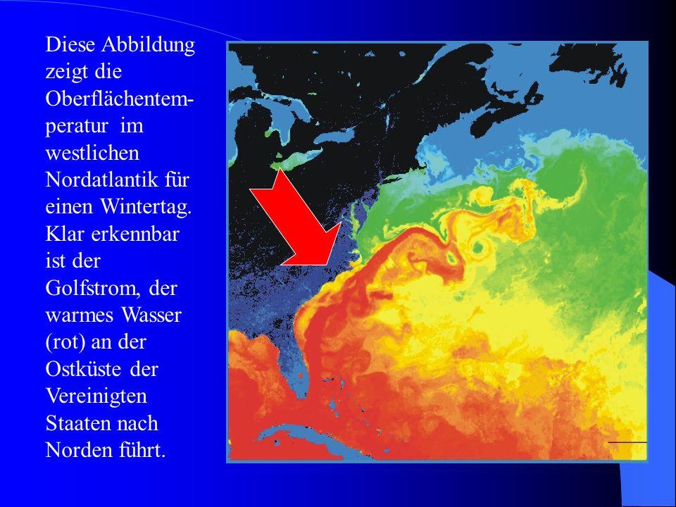Diese Abbildung zeigt die Oberflächentem-peratur im westlichen Nordatlantik für einen Wintertag.