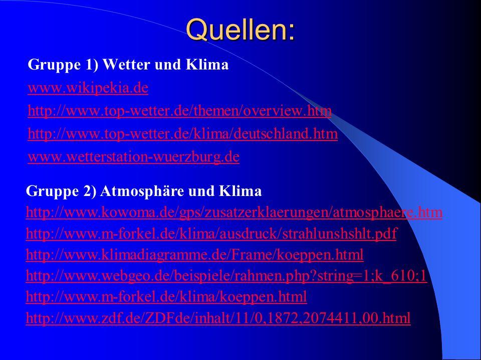 Quellen: Gruppe 1) Wetter und Klima www.wikipekia.de