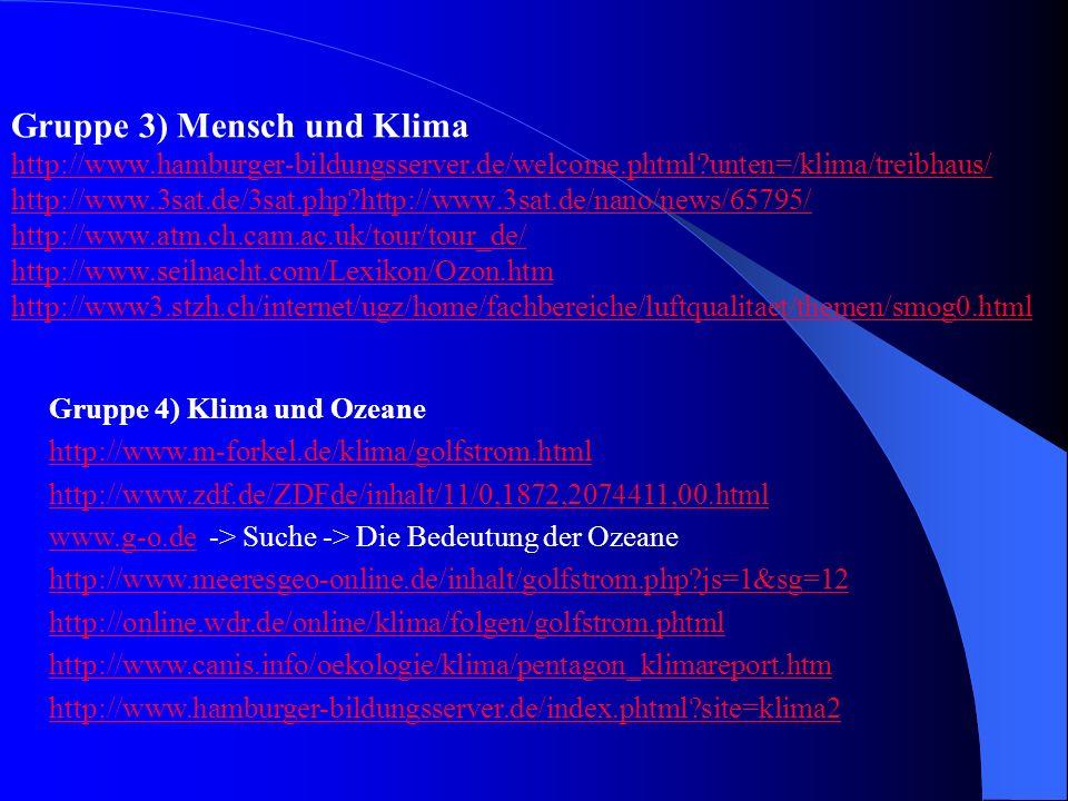 Gruppe 3) Mensch und Klima
