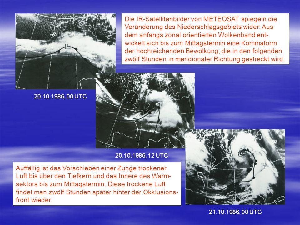 Die IR-Satellitenbilder von METEOSAT spiegeln die