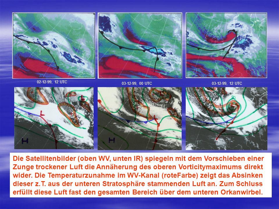 02-12-99, 12 UTC 03-12-99, 00 UTC. 03-12-99, 12 UTC. Die Satellitenbilder (oben WV, unten IR) spiegeln mit dem Vorschieben einer.