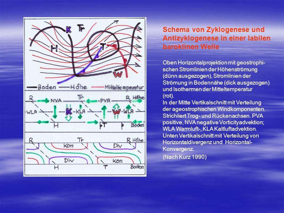 Schema von Zyklogenese und Antizyklogenese in einer labilen