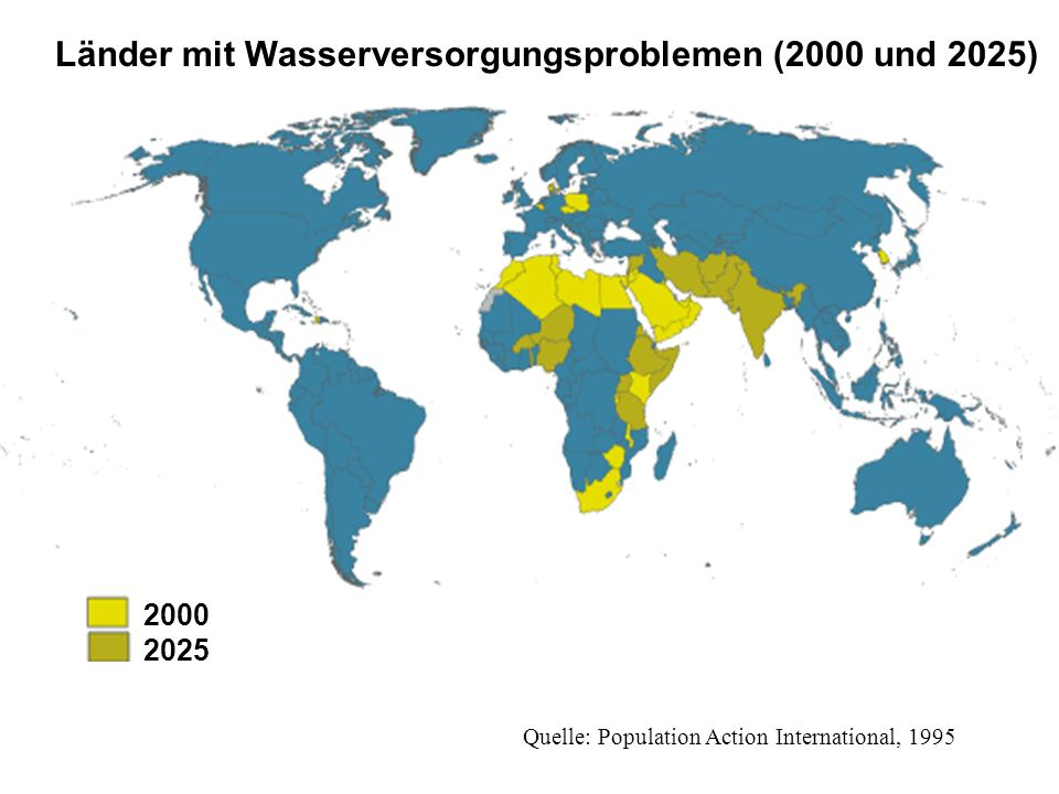 Länder mit Wasserversorgungsproblemen (2000 und 2025)