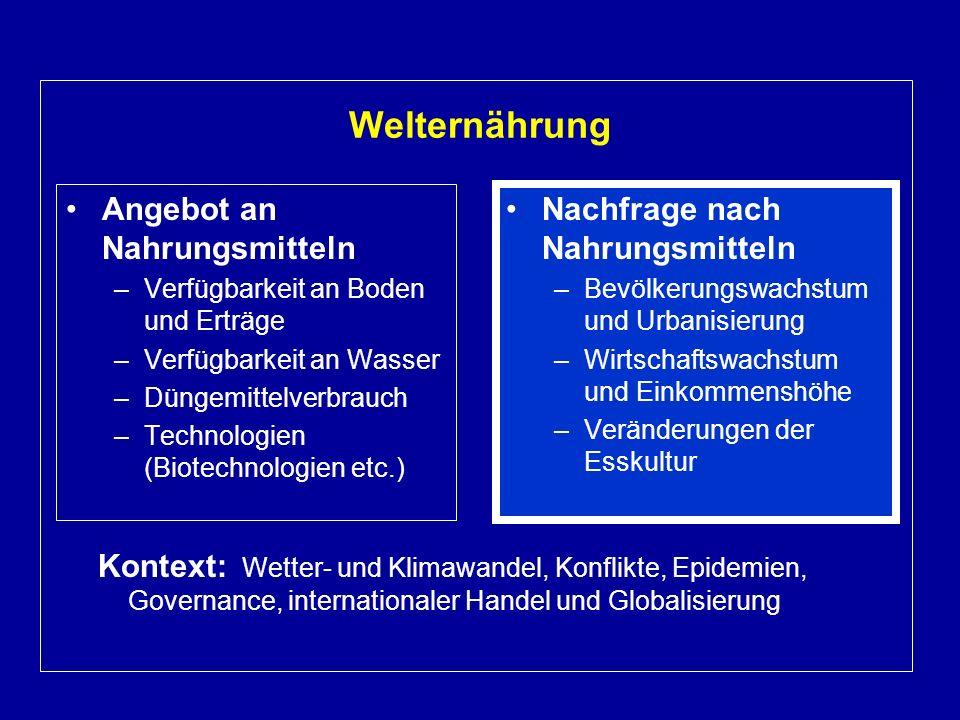 Welternährung Kontext: Wetter- und Klimawandel, Konflikte, Epidemien, Governance, internationaler Handel und Globalisierung.