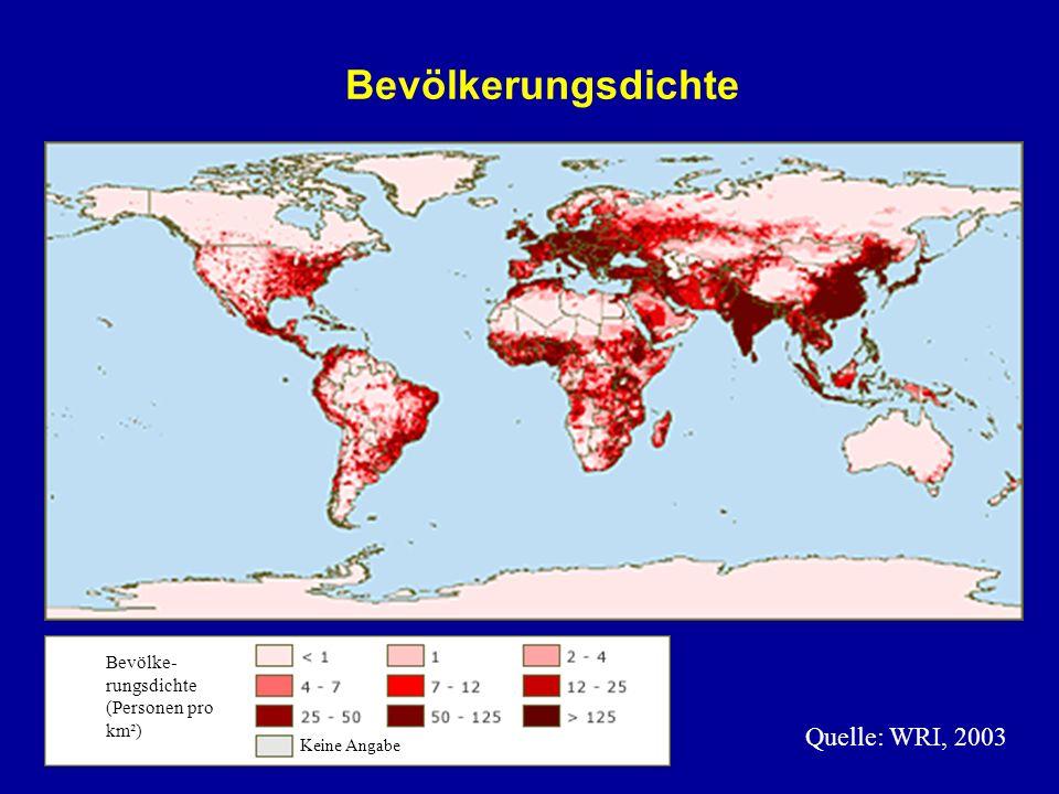 Bevölkerungsdichte Quelle: WRI, 2003