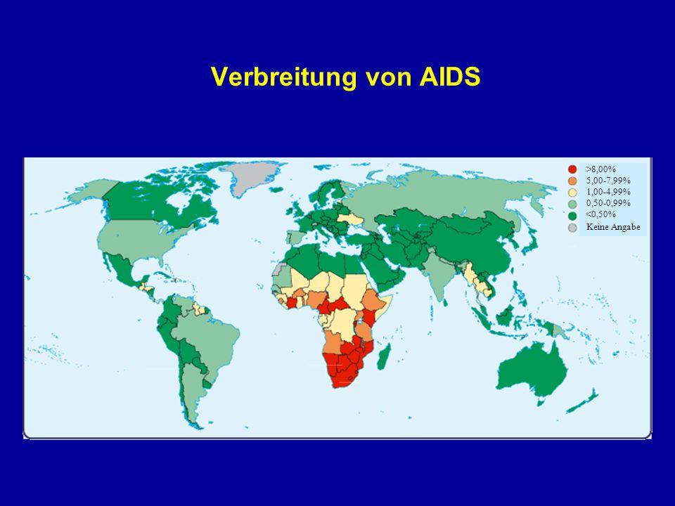 Verbreitung von AIDS >8,00% 5,00-7,99% 1,00-4,99% 0,50-0,99% <0,50% Keine Angabe.