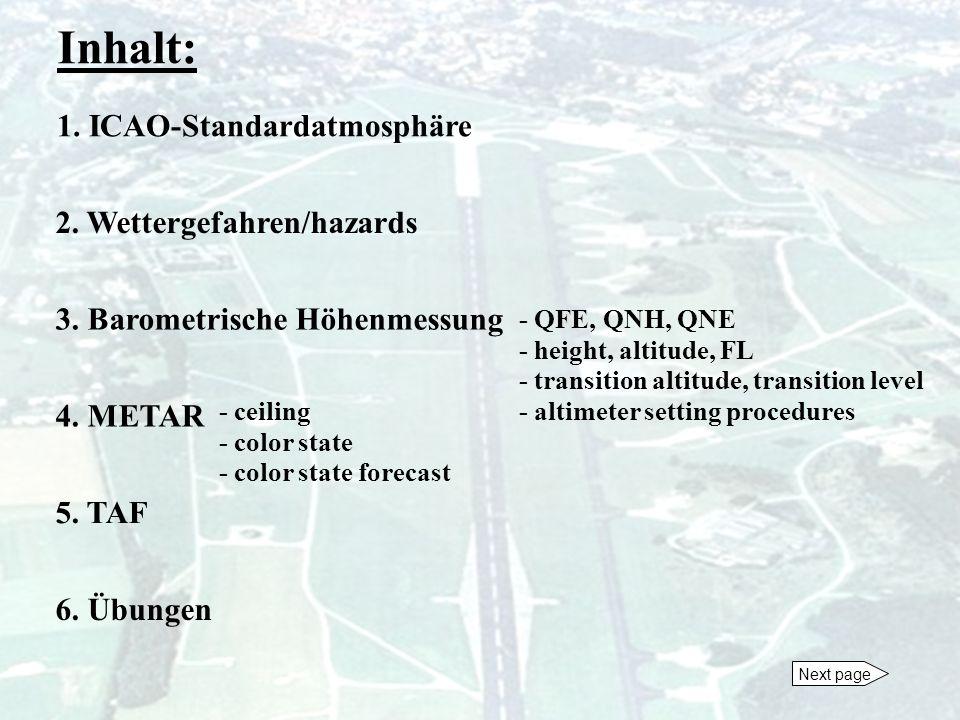 Inhalt: 1. ICAO-Standardatmosphäre 2. Wettergefahren/hazards