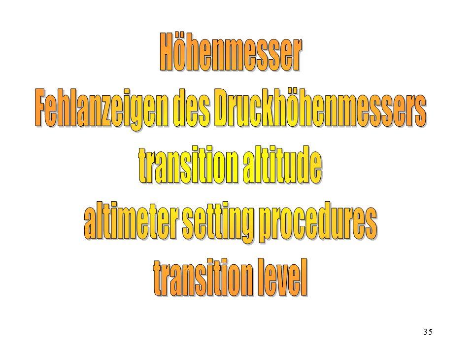 Fehlanzeigen des Druckhöhenmessers transition altitude
