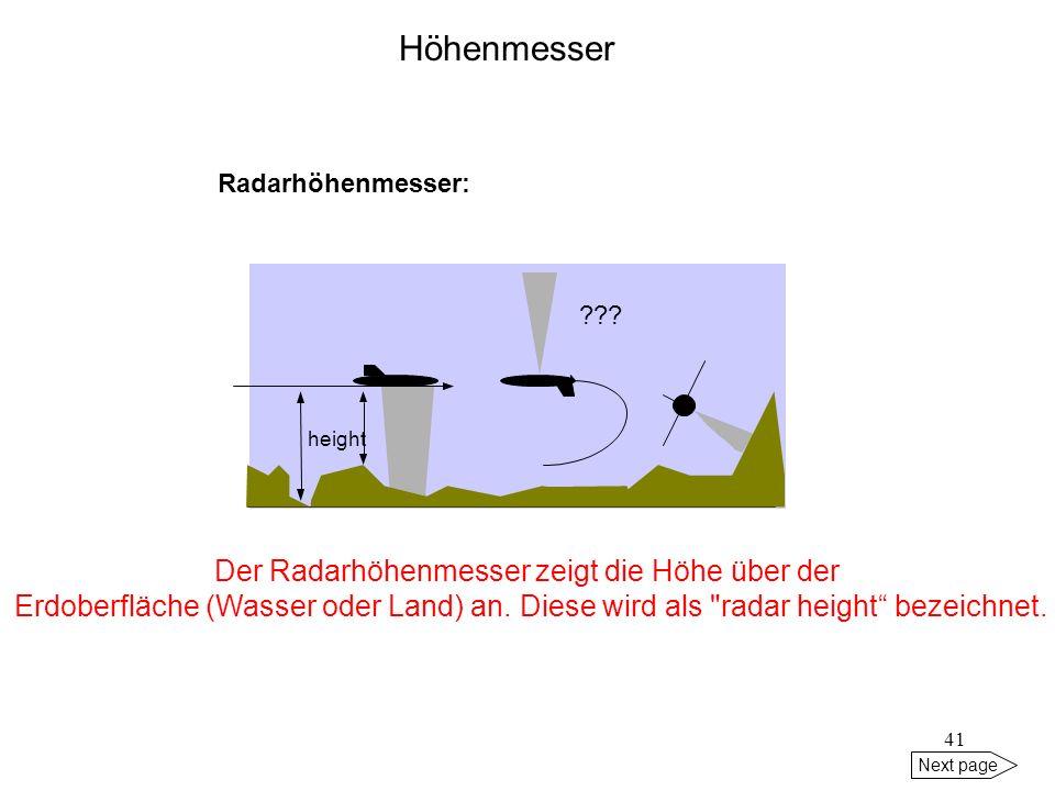 Der Radarhöhenmesser zeigt die Höhe über der