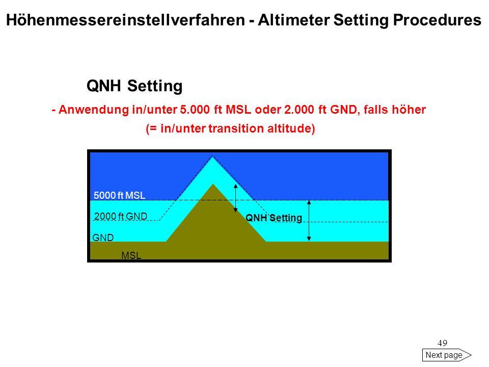 Höhenmessereinstellverfahren - Altimeter Setting Procedures