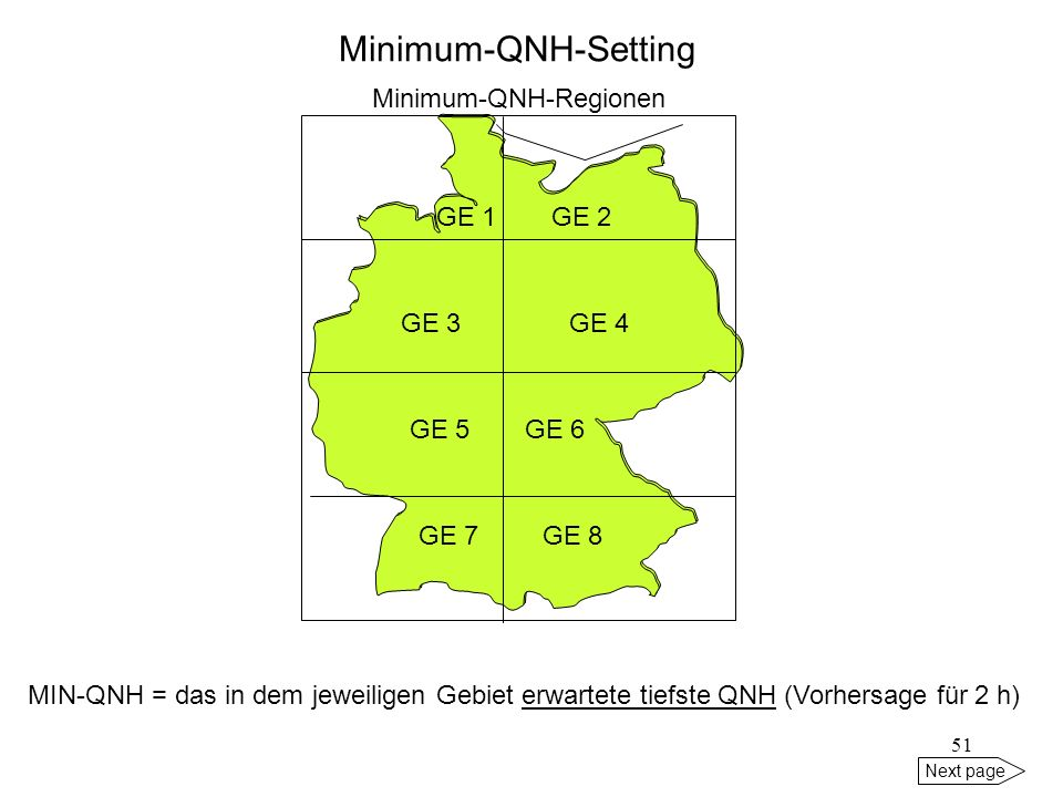 Minimum-QNH-Setting Minimum-QNH-Regionen GE 1 GE 2 GE 3 GE 4 GE 5 GE 6