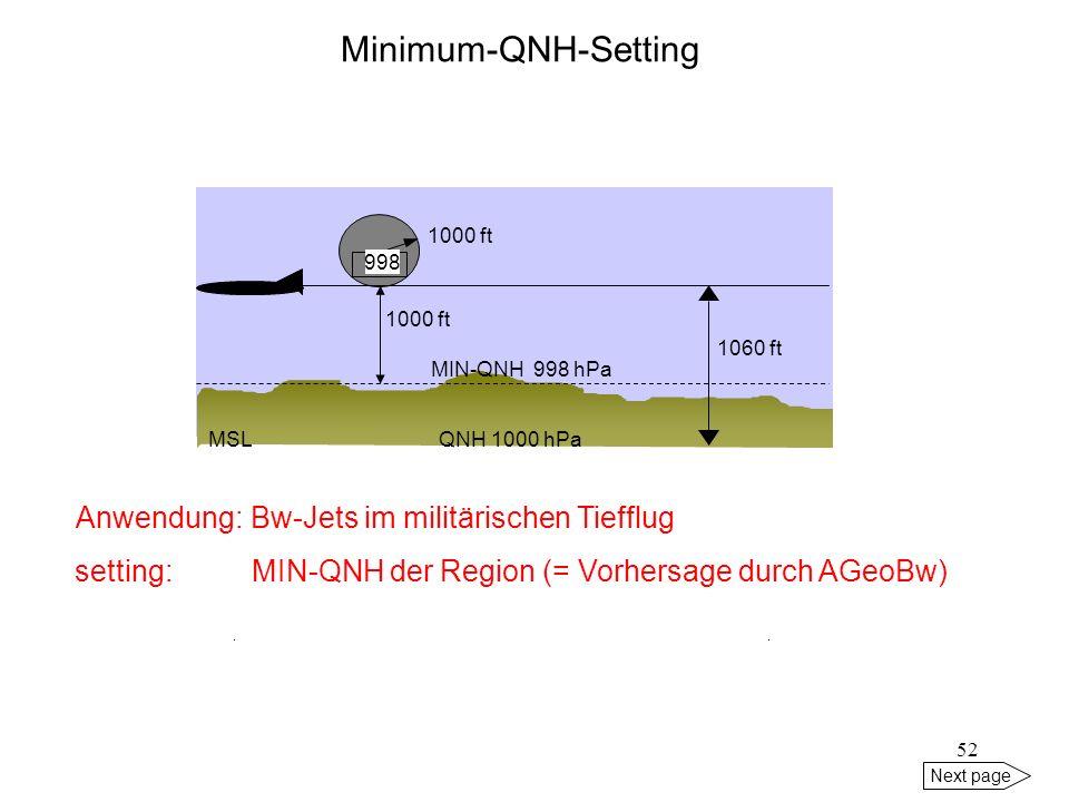 Minimum-QNH-Setting Anwendung: Bw-Jets im militärischen Tiefflug