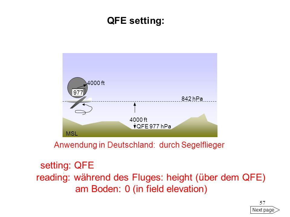 reading: während des Fluges: height (über dem QFE)