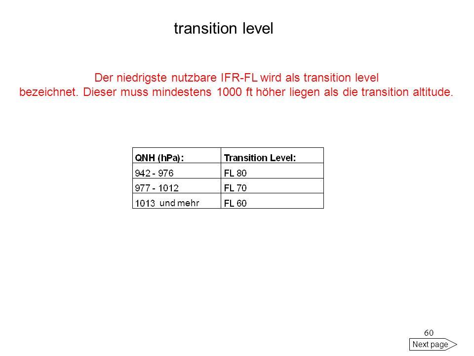Der niedrigste nutzbare IFR-FL wird als transition level