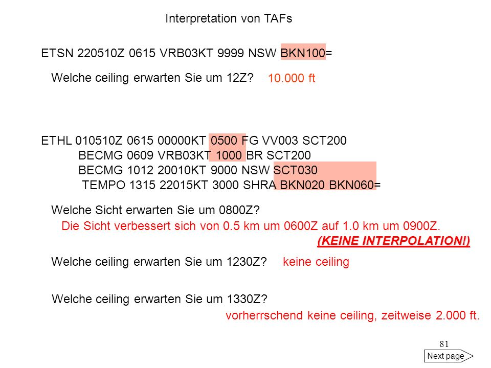 Interpretation von TAFs