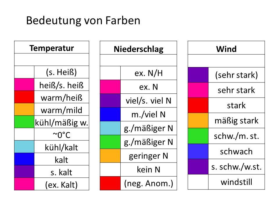 Bedeutung von Farben Temperatur (s. Heiß) heiß/s. heiß warm/heiß