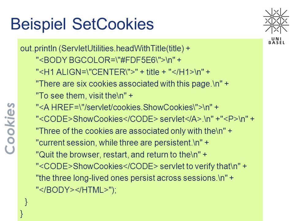 Beispiel SetCookies Cookies